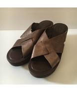 Kork Ease Korks Brown Bronze Leather Suede Sandals Wedge Platform Slides... - $53.46