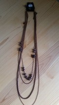 Paparazzi Long Necklace & Earring Set (New) Bronze Chains W/ Bronze Beads 42 - $7.69