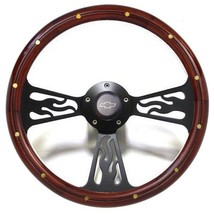 1969 - 94 Chevy Impala, Bel Air Wood Flamed Billet Steering Wheel Black Billet - $179.99