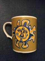 Groovy Flower Power 1960s Green Yellow Blue Sunshine Mug Coffee Cup Psyc... - $12.76