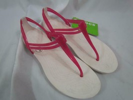 NWT Crocs Isabella T-Strap Berry Oyster Sz 5 M Comfort Sandals - $18.99