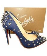 Christian Louboutin Studded Aimantaclou 100 Pumps Denim Blue Heels Shoes 37 - $499.99
