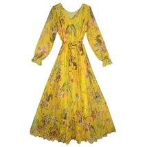 Long Sleeve Plus Size Floral Chiffon Dress Lady Maxi Long Chiffon Flower Dress   image 7