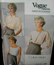 Vogue 1860 Misses Womens 12 Top Blouse Calvin Klein pullover long sleeves  - $8.90