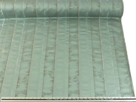 Slub Effect Duck Egg Blue Silver Embroidered Striped Fabric Material *2 Sizes* - $8.34+