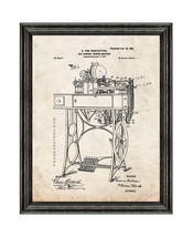 Hat-binding-sewing Machine Patent Print Old Look with Black Wood Frame - $24.95+