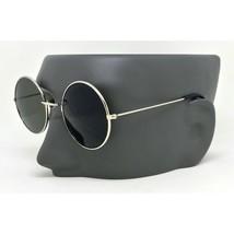 John Lennon Sunglasses Round Shades Gold Frame Black Lenses Retro - $11.59+