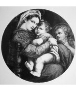 MADONNA Virgin Seated in Chair Baby Christ by Raphael - 1888 Etching Print - $18.64