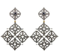 6.3ct Diamond Pave CLOVER Shape Dangle Earrings 14k Gold Sterling Silver... - $1,583.80