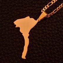 Anniyo Eritrea Map Pendant Figaro Chain for Women/Men Gold Color Jewelry Africa  image 5