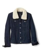 Banana Republic Shearling Collar Jean Jacket, Dark Wash 100% Cotton, Siz... - $116.99
