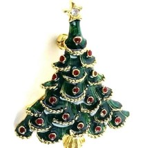 Gold Tone Costume Jewelry Green Enamel Christmas Tree Brooch Pin Unsigne... - $14.99