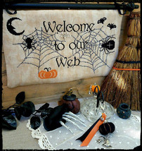 R-100 Welcome To Our Web halloween chart + charm cross stitch chart Rovaris   - $12.00