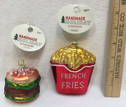 Burger & French Fries Glass Ornaments Colorful Cheeseburger Christmas Ho... - $19.75