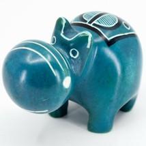 Crafts Caravan Kisii Soapstone Turquoise Hippopotamus Hippo Figurine Made Kenya image 2