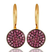 Pink Sapphire 18K Gold Plated 925 Sterling Silver Dangle Earrings Jewelry - $94.05