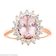 MORGANITE & DIAMOND HALO ENGAGEMENT RING OVAL SHAPE 10x8mm ROSE GOLD 2.8... - €1.478,90 EUR