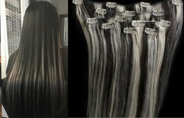 """18"""",20"""",22"""",24"""" 100% Remy Human Highlighted Hair Extensions 7Pcs Clip in #1B/613 - $69.29+"""