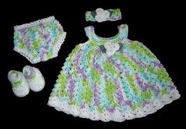 Handmade dress set 3-6M crocheted in soft cotton in purple, green, white... - $49.00