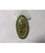 Oval Brooch Pin Handmade Polymer Clay Bead Embroidery Wearable Art Earth... - $40.00