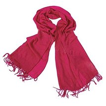 Tassel Fringe Style Sun Protection Solid Infinity Pashmina Beach Scarf Red