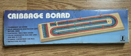 Cribbage Board Game Natural Hardwood Triple Track Color Vintage 1985 - $12.88
