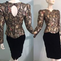 Talbots Velvet 80s Womens Dress Size 10 Scott McClintock Metallic Brocade Vtg - $79.46
