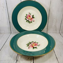 "Lot 2 MID CENTURY Homer Laughlin Cavalier Eggshell Empire Green 8.25"" Soup Bowl - $29.69"