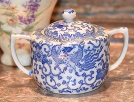 Vintage Phoenix Blue & Whit Japan Sugar Bowl Lid Dragon Design Muscle Ha... - $24.99