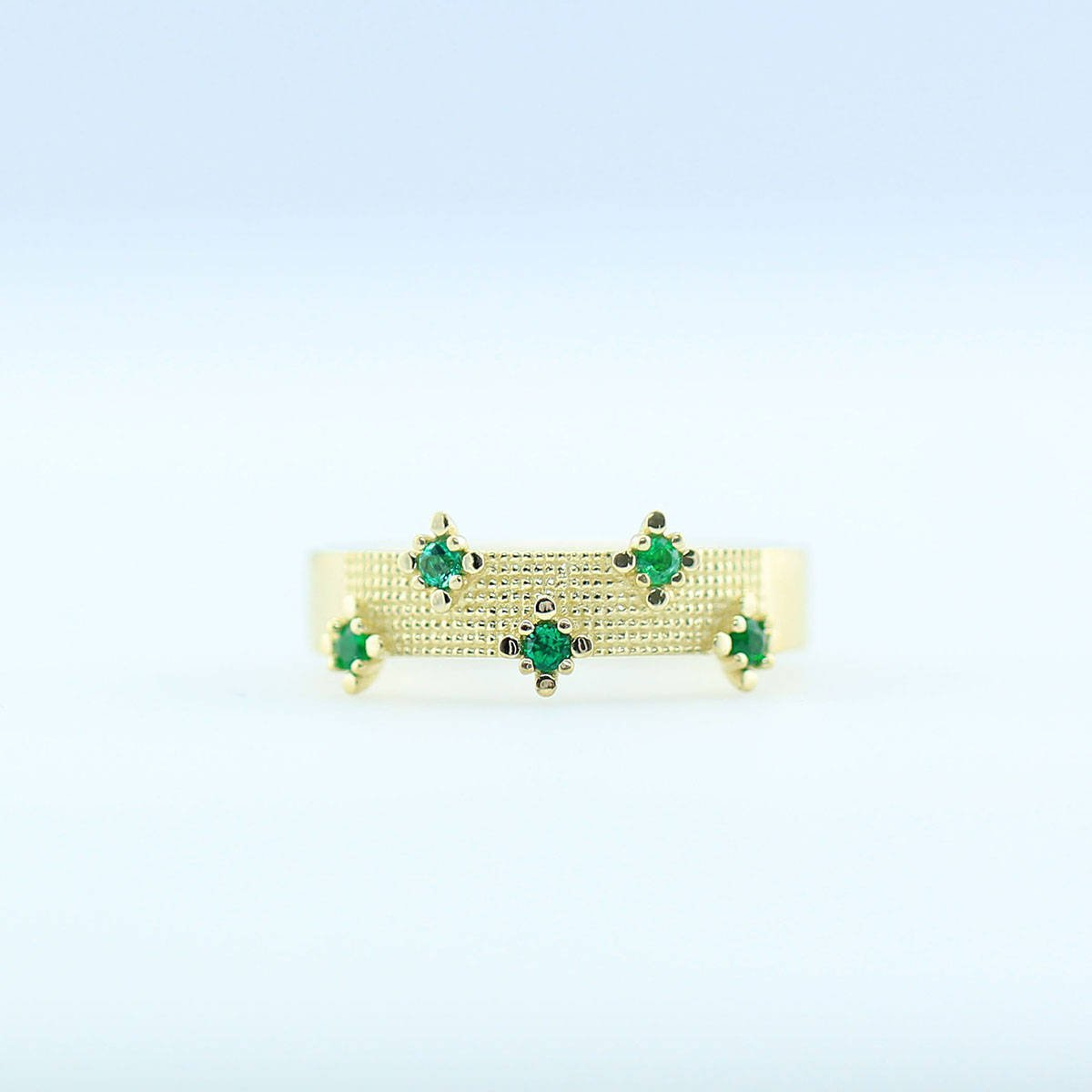 925 Sterling Silver Natural Fine Quality Emerald Gemstone Gold Plated Handcrafte