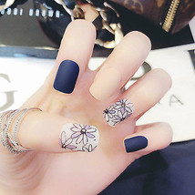 Matte navy blue & cream & flowers 24 piece glue on nails set short lengt... - $9.99