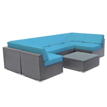 Patio Wicker Sectional Sofa Set Outdoor Couch Rattan Sun Lounge w/ Table... - $1,187.00