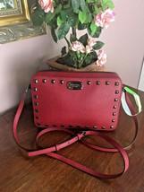 Michael Kors Crossbody Bag East West Studded Saffiano Cherry Leather $22... - $98.95