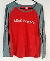 Jenni Intimates Womens Large Red Raglan Long Sleeve Shirt Christmas Mist... - $17.10
