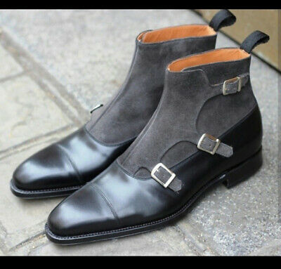 Genuine Vintage Gray Black Straps High Ankle Leather Cap Toe Men Monk Boots