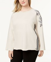 Calvin Klein Performance Embroidered Raglan Top Biscotti Plus Size 2X -$... - $18.99