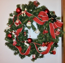 Lg OOAK Recycled Christmas Pine Holiday Wreath VTG Tree Branches Santa C... - $175.00