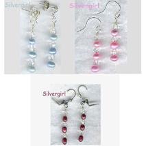 Freshwater Pearl Crystal Dangle Earrings Blue Pink or Burgundy - $9.99