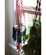 Macrame Fringe Plant Hanger in Rust and Pine (Plant NOT Included) - $40.00