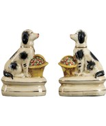 Black & Off White Porcelain Dogs w Baskets Figurines or Small Dog Booken... - $39.95