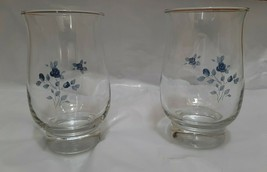 Pfaltzgraff Poetry Blue Rose Pattern drinking glasses set of 2 tumblers - $25.95