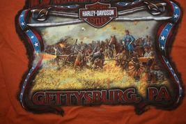 Harley Davidson Mens T-Shirt Orange Battlefield Harley Gettysburgh PA Size Small image 4