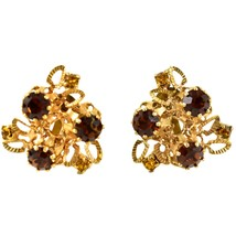 Vintage Karu Arke Gold Tone Clip On Earrings with Amber Brown Accents Austria image 1