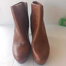 Gianni Bini Womens Ankle Booties Brown Almond Toe Platform Heel Zipper 10 M - $35.79