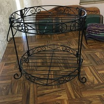 Black Wrought Iron 2 Tiered Pie Plate Casserole Plant Stand ~ Rack Only - $32.53 CAD