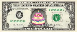 BIRTHDAY CAKE on REAL Dollar Bill Cash Money Collectible Novelty Bank Ha... - $4.50