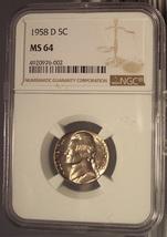 1958-D Jefferson Nickel NGC MS 64 #G027 - $13.79