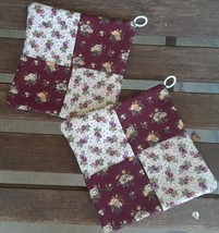 Country Time Padded Fabric Patchwork Potholders - $7.00
