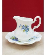 Jubilee Fine Bone China Creamer Jug and Saucer - Blue Flowers - $14.99