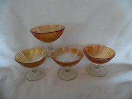 Lot of 4 Vintage Iridescent Marigold Imperial Carnival Sherbet Shebert D... - $11.50